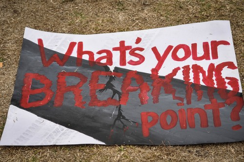 Photo by Steven Storm from protest in Santa Barbara after May oil spill, published under Creative Commons license