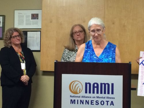 Sue Swain speaking at NAMI press conference. Also pictured, Sue Abderholden and Jill Wiedemann-WEst