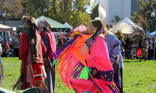 Photo of 2012 Indigenous Peoples Day celebration in Berkeley by Quinn Dombrowski, published under Creative Commons license.